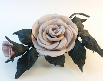 Leather rose flower brooch / pin / hair clip - Handmade beige leather rose brooch with green leather leafs