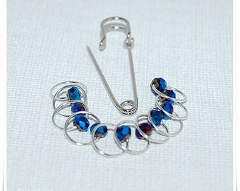 Stitch markers for knitting fire polished crystals ring Stitchmarker brooch Stitchmarker Holder Ring stitch Markers