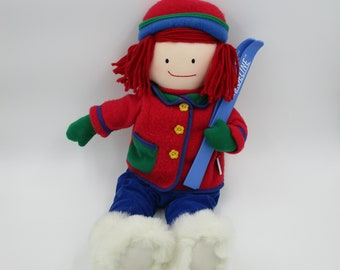 MADELINE DOLL, Skiing Madeline doll, vintage Madeline doll, Madeline with Skiis, French story book character, story book toy, cute Madeline