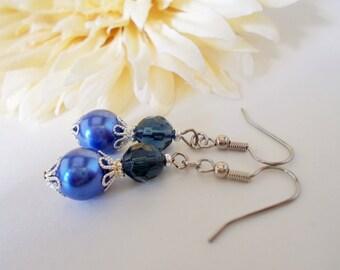 Cobalt Earrings, Blue Pearl Earrings Bridesmaids Gift, Beaded Dangle Earrings Sterling Silver Earrings, Something Blue Bridal Jewelry Gift