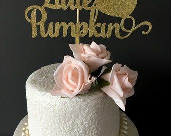 Little Pumpkin Cake Topper ... Fall Birthday Party .. Cake topper ... Fall cake topper