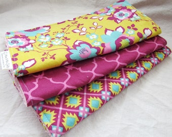 Burp Cloth Gift Set for Baby Girl - Allie's Garden Collection - Set of 3 burp pads make a great baby shower gift