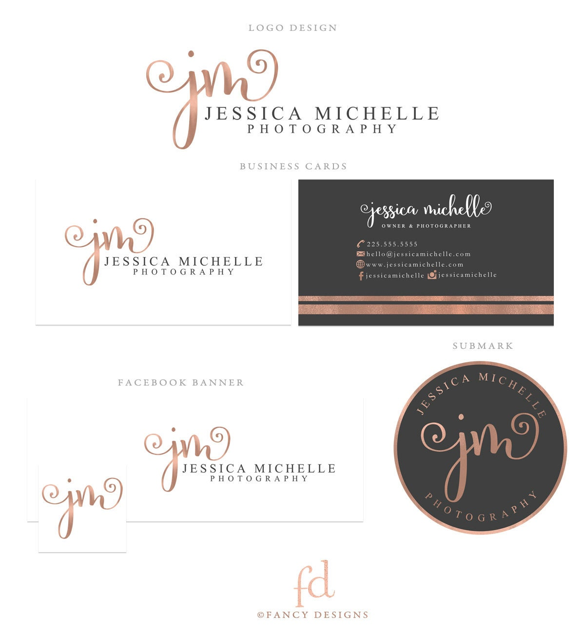 Rose Gold Logo Photography Logo Calligraphy Logo Photography