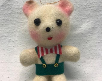 Vintage Flocked Christmas Mouse Ornament