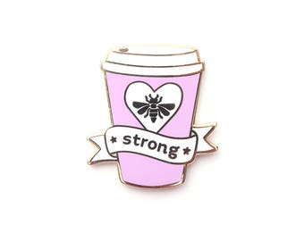Pink Bee Strong Pin, Enamel Pin, Wishes, gold metal, hard enamel, brooche, coffee, strong coffee, coffee pin, coffee cup