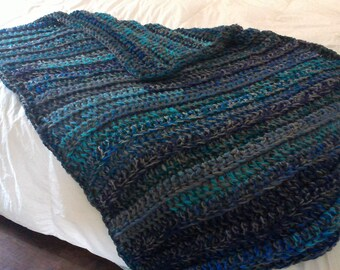 Blanket, Charcoal gray, teal, and navy blue throw blanket crochet blanket, blue blanket, crochet throw