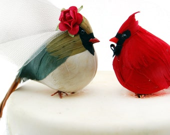 Country Cardinal Wedding Cake Topper: Bride & Groom Love Bird Cake Topper -- LoveNesting Cake Toppers