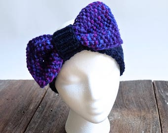 Bow Headband Ear Warmer in Blue and Purple Multicolor