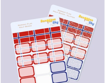 Norway Flag Half Box Planner Stickers