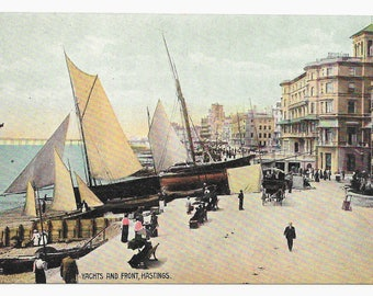 Yachts and Front Hastings, England Photo Postcard, c. 1910