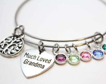 grandma bracelet, grandma jewelry, grandma bangle, grandma birthstone jewelry, grandma family tree jewelry, grandma family tree bracelet