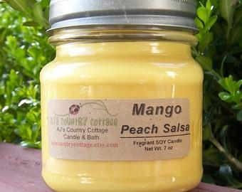 Bougie de soja SALSA mangue pêche - bougies de soja - parfumés bougies - bougies de mangue, pêche bougies, bougies de l'été, printemps, été Decor
