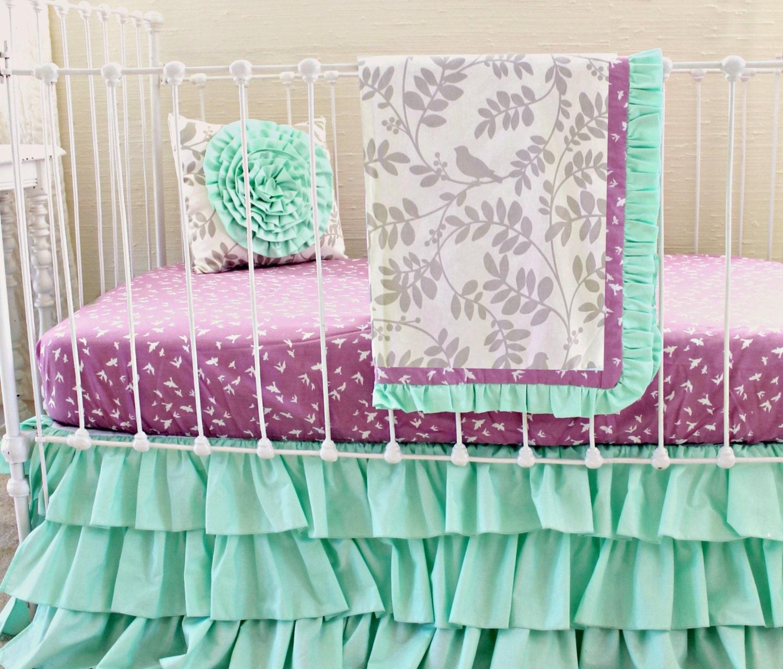 Mint Green Baby Girl bedding purple and mint modern crib