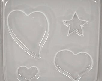 3 Hearts and Star Resin Mould RM 51618