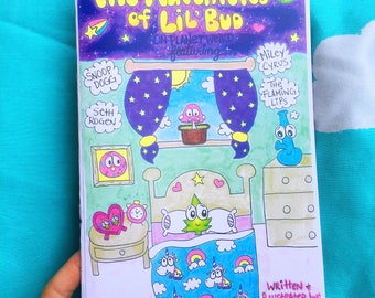 The Adventures of Lil' Bud, comic book zine & stickers, Miley Cyrus, Seth Rogen, Snoop Dogg, The Flaming Lips
