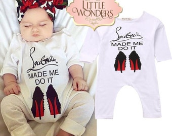Baby Girl Red Sole Louboutin Made Me Do It Romper