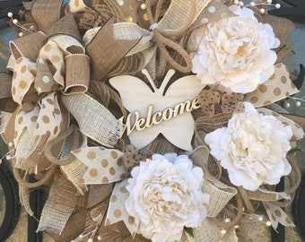 White Large Peony's passion wreath for front door. Anniversary Wreath, Wedding wreath, farmhouse decor wreaths, modern natural wreath