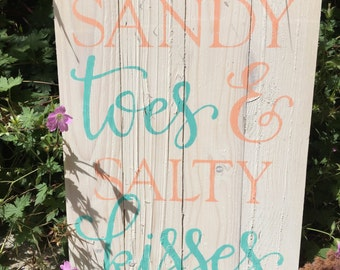 Sandy Toes & Salty Kisses Pallet Sign - Reclaimed Wood Art - Beach House Decor and Gifts