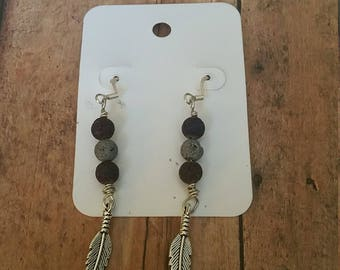 Lava Bead Dangle with Silver Feather Earrings