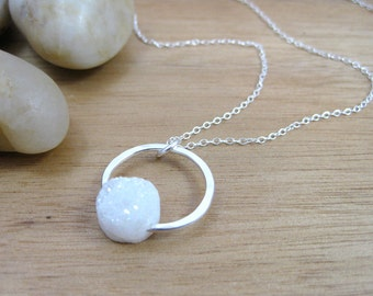 White Druzy Quartz Necklace Sterling Silver Circle Necklace Circle Pendant Frosty Drusy Quartz Jewelry Necklace Minimalist Jewelry - Halo