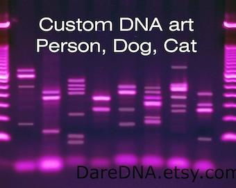 Custom People Dog Cat DNA Canvas, Genetics Wall Art, Purple Rain Science Arts, Molecular Biology, Metal Print, Medical Biology Gifts, PCR