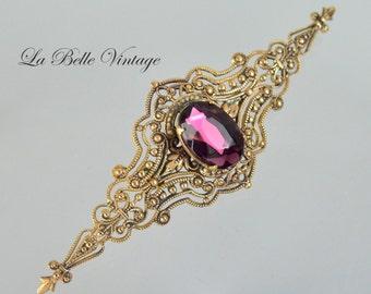 Vintage Filigree Brooch ~ Victorian Revival Amethyst Bar Pin
