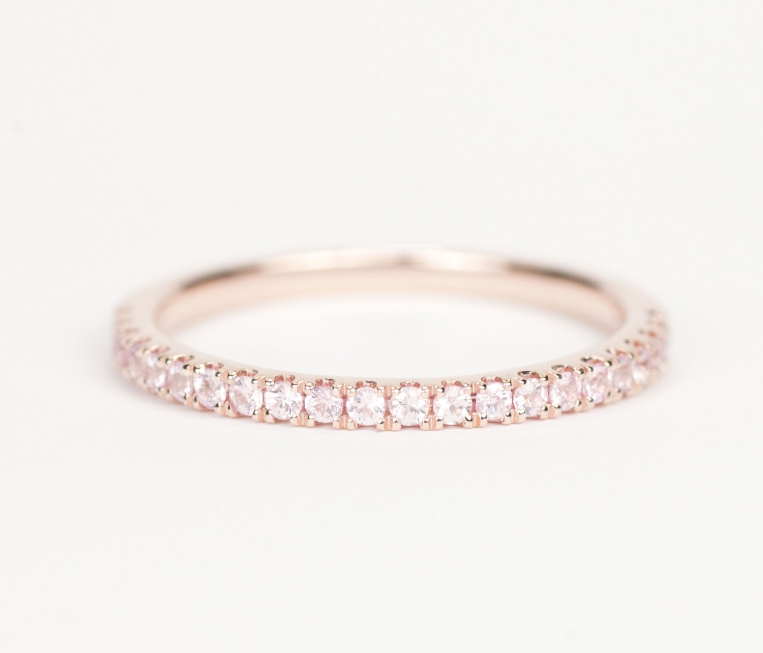 Certified light pink sapphire 14k rose gold wedding band zoom junglespirit Choice Image