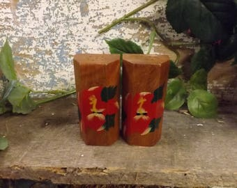 Vintage Hand Painted  Wood Salt & Pepper Shakers