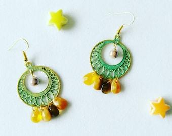 golden earrings, engraved ring, beads and charms / earrings / earrings / gift for her