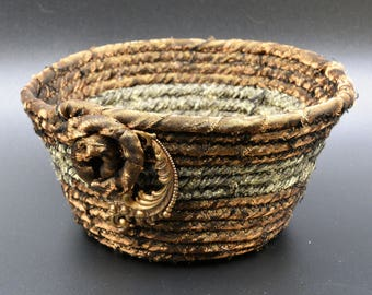 Hand-made Basket, Fabric Basket, Basketry, Fabric Art, Funky Basket, Fabric Bowl, Gift for Her, Coiled Basket,Gift