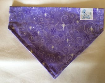 Bandana Lavender and  Silver Size Small for Dogs, Puppies and Cats