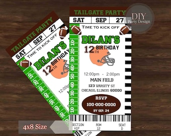 Football Ticket Birthday Invitation * Tailgate Party *  Digital Party Invitation * You Print