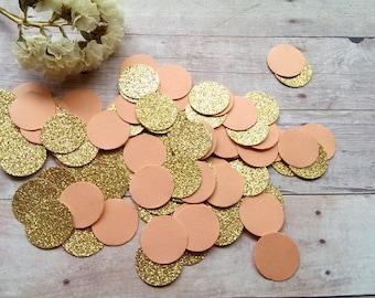 Gold and Peach Confetti (240pc) Peach and Gold Confetti Glitter confetti Coarl Confetti Coarl and Gold Confetti Gold and coral confetti