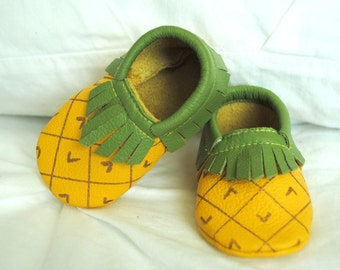 Pineapple moccasins with fringe leather baby moccasin toddler infant mocs soft-soled moccs shoe handmade Halloween costume