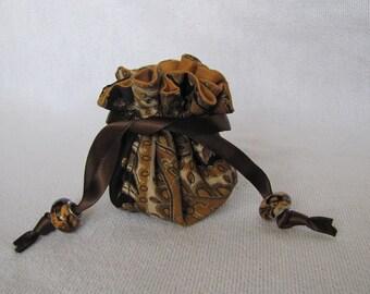Drawstring Jewelry Pouch -Mini Size - Travel Tote - Jewelry Bag - CHOCOLATE CARAMEL BROWNIE
