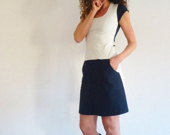 Dress with pockets, short sleeve, navy and white