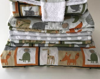 Animals Nap Blanket, Set of 6 Burp Cloths, and a Portable Diaper changer
