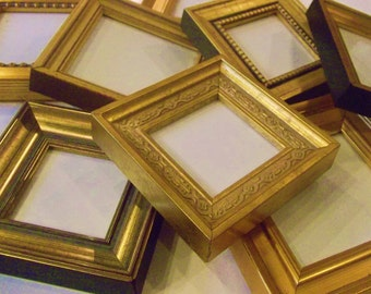 Lot of 10 Small Gold Picture Frames TO HANG