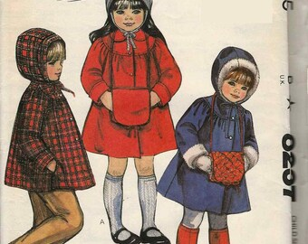 McCalls 8237 Girls Coat or jacket and muff gathered to round yoke button front collar or hood Size 3 uncut sewing pattern