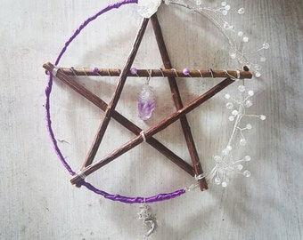 Amethyst pentacle - Quartz - purple - pagan decor - crystal pentagram - witchy - wicca - druid - witchcraft supplies - altar - wall art gift