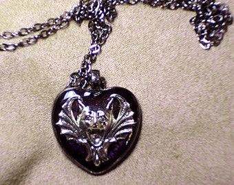 GRZEGORZ - Unique OOAK art necklace - Gothic Gargoyle Vigilant Protector Ever-Watchful Guardian- signed and dated - handmade wearable art