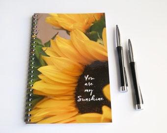 Sunflower Notebook, Spiral Notebook, Sunflower Gift, You are my sunshine journal, Lined Notebook, Gifts for her, Sunflower Gifts, Journal