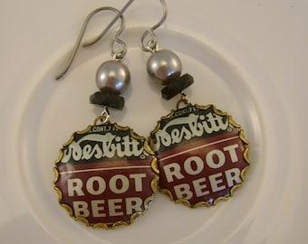 Happy Days - 1950s Nesbitts Root Beer Bottle Caps Swarovski Pearls Niobium Wires Recycled Repurposed Jewelry Earrings