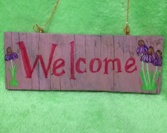 Reversible Welcome sign (Welcome/ Poppies)