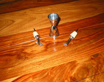 Vintage Pair Of Metal Pour Spouts With Natural Cork Inserts And Stainless Steel Double Jigger