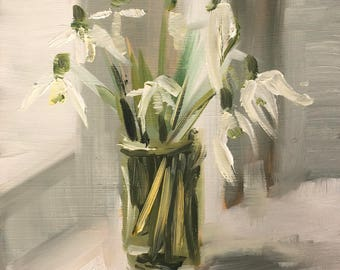 Snowdrops on the windowsill, original small oil painting on panel 15x15cm