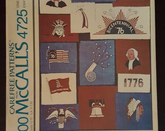 Vintage McCall's 4725 Bicentennial Iron On Transfer Patterns ~ Uncut