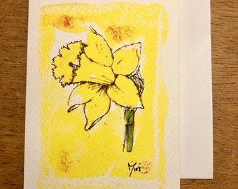 Yellow Daffodils Watercolour and Ink Greeting Card