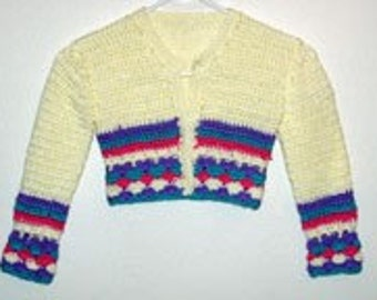 pdf Crochet Pattern for Girls sizes 4,6,8 and 10 Cardigan Sweater