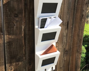 Rustic Decor Key Hook Mail Box 3 Slot Mail Organizer with key holder